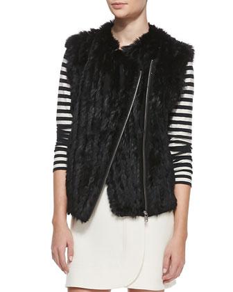 Abbey Asymmetric Rabbit Fur Vest