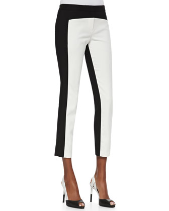 City Stretch Colorblocked Cropped Pants, Black/Ivory