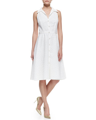 Sleeveless Eyelet Button-Front Cocktail Shirtdress