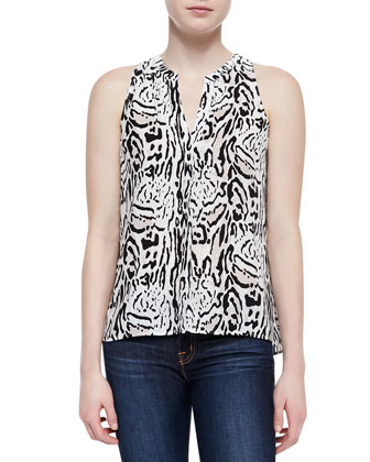 Aruna Animal-Print Silk Tank, Caviar