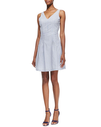 Neilah Grid-Print Open-Back Cotton Dress, Porcelain