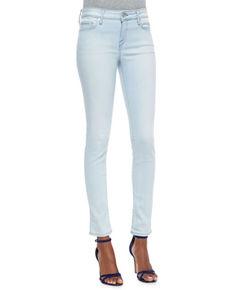Skinny-Leg Cropped Denim Jeans, Starlight