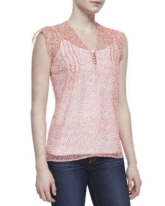 Macy B Printed-Silk Cap-Sleeve Blouse