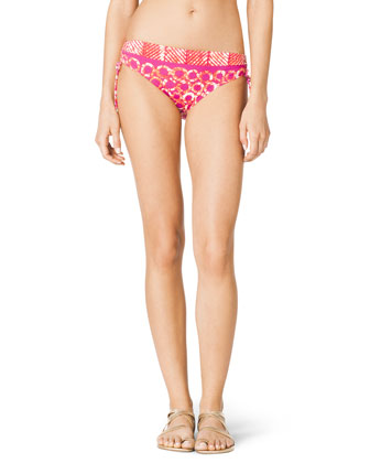 Mixed-Print Side-Ruch Swim Bottom