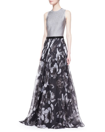 Sleeveless Mixed-Media Floral Gown