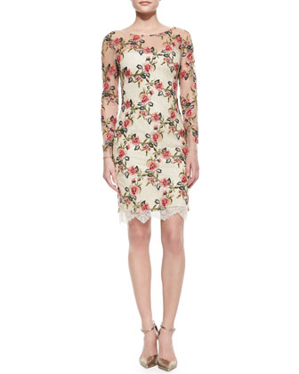 Long-Sleeve Floral Embroidered Overlay Cocktail Dress