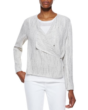 Harla Wrap Front Jacket, White/Black