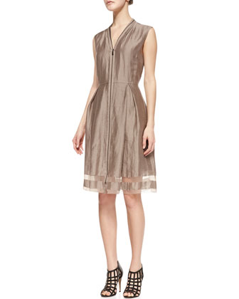 Emma Sleeveless Sheer-Hem Dress, Sandstone