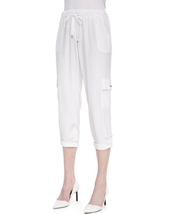 Ella Silk Cargo-Pocket Pants, White