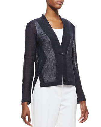 Rebecca One-Button Linen Jacket, Navy Yard