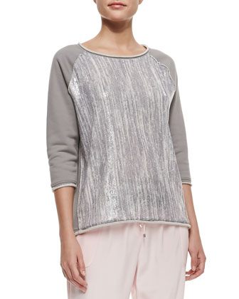 Sandrine Striped & Sequined Front Top, Light Gray