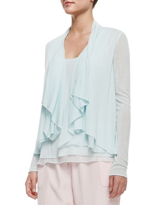Follia Double-Layer Scoop-Neck Tank, Farrell Long-Sleeve Draped Ruffle-Front Blouse & Ella Silk ...