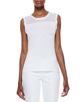 Kemper Sleeveless Knit Yoke Top, White