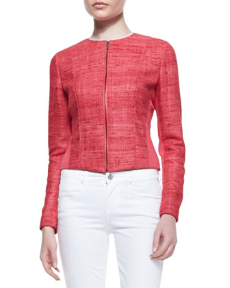 Amy Silk & Knit Long-Sleeve Jacket