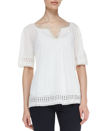 Short-Sleeve Eyelet-Trim Blouse