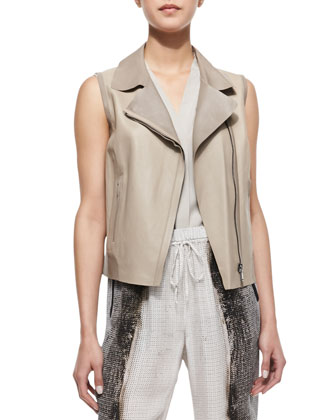 Katie Sleeveless Moto-Style Faux-Leather Vest, Burlap/Sandstone