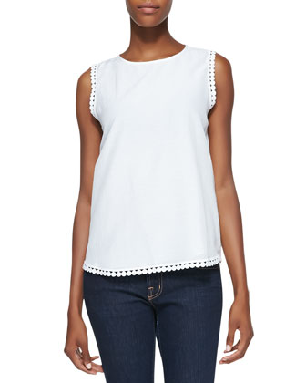 Jessa Sleeveless Decorative-Trim Top