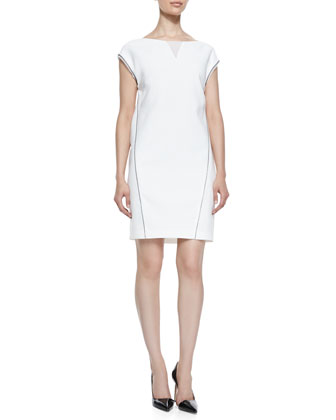 Christina Cap-Sleeve Dress with Illusion V-Neck