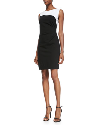Dilana Sleeveless Contrast Sheath Dress
