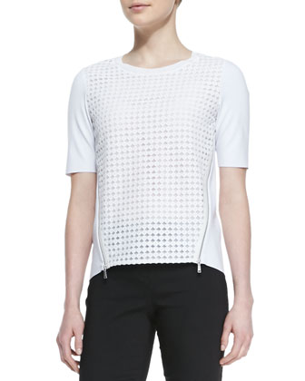 Brinson Perforated-Front Blouse with Zip Sides