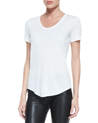Kinetic Short-Sleeve Scoop-Neck Tee, Optic White