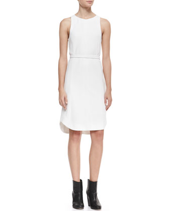 Olivia Belted Sleeveless Crepe Dress