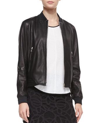 Leather Skid Pan Jacket, Black
