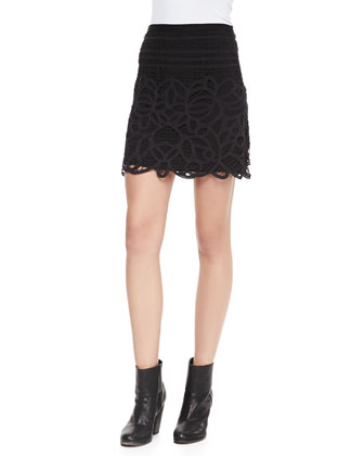 Nancy Jersey Lace-Overlay Skirt