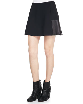 Montrose Flared Leather-Panel Skirt