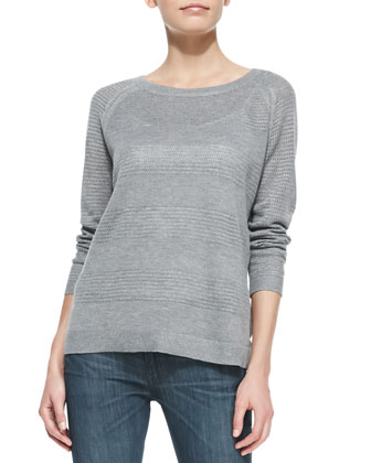 Bobbi Boat-Neck Pullover, Light Gray Melange