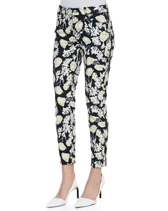 Cropped Skinny Jeans with Floral Print