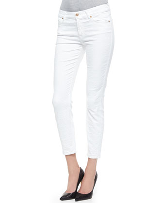 Pieced Cropped Skinny Jeans, White