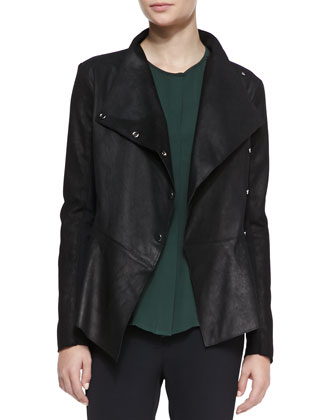 Leather/Ponte Peplum Moto Jacket
