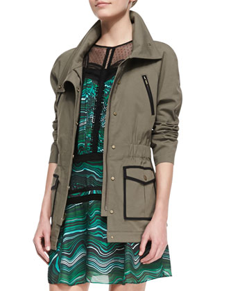 Twill Contrast-Trim Military Jacket
