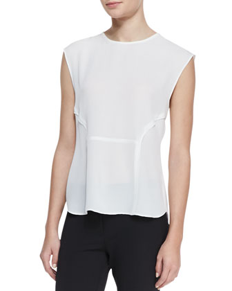 Cutout-Back Silk Blouse
