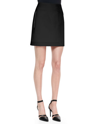 Palm Rib-Trim Suiting Skirt