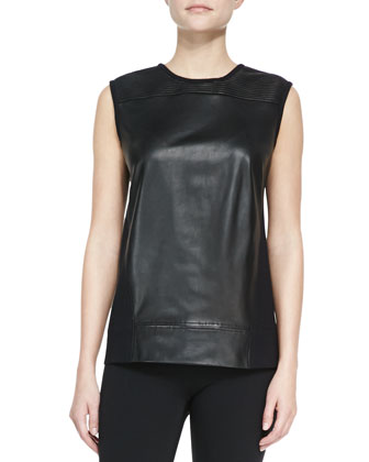 Ink Leather/Knit Sleeveless Top