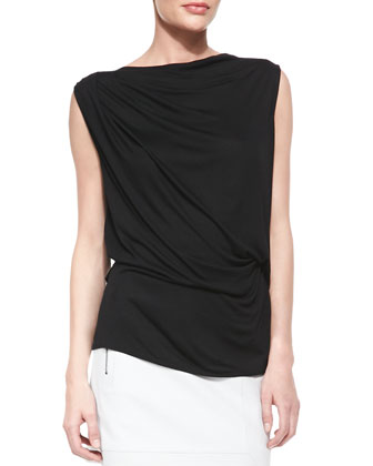 Draped Cross-Back Jersey Top