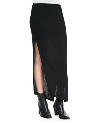 Scala Asymmetric Slub-Jersey Skirt