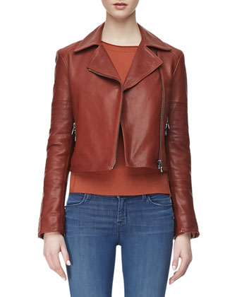 Aiah Zip-Front Leather Jacket
