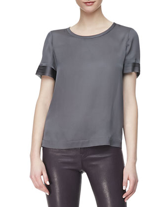 Juju Short-Sleeve Silk Blouse