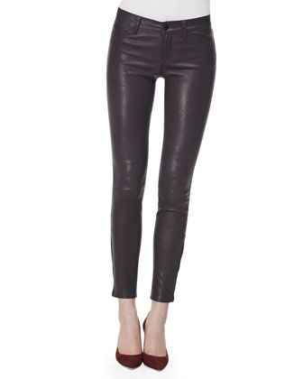 L8001 Leather Leggings, Black Plum