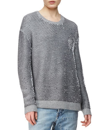 Sequin Knit Crewneck Sweater, Gray Melange