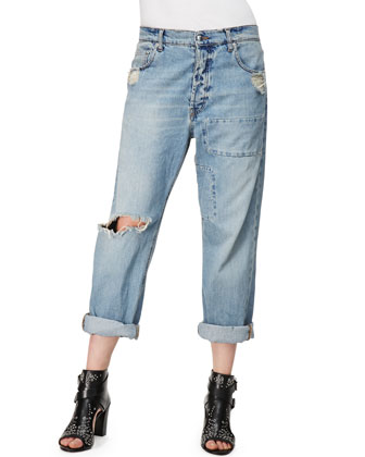 Patched Boyfriend Jeans, Distressed Indigo