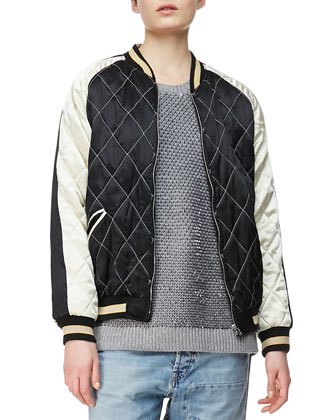 Quilted Bomber Jacket, Black/Cream