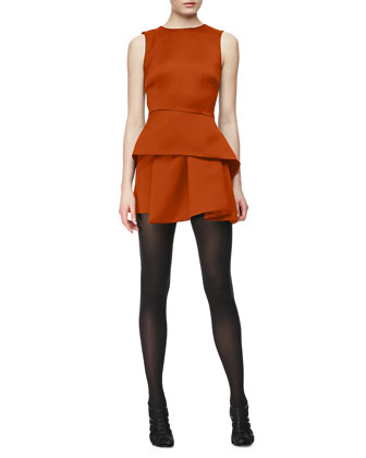 Round-Neck Peplum Dress, Amber