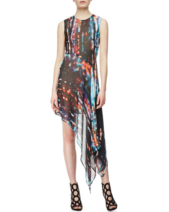 Sleeveless Asymmetric Printed Silk Dress, Blurry Light