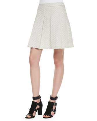 Quilted-Jersey Pleated Skirt