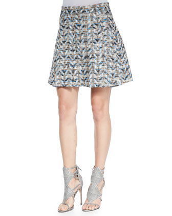 Chevron Pleated A-Line Skirt