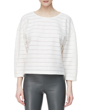 Wool-Blend Stripe Cocoon-Sleeve Top